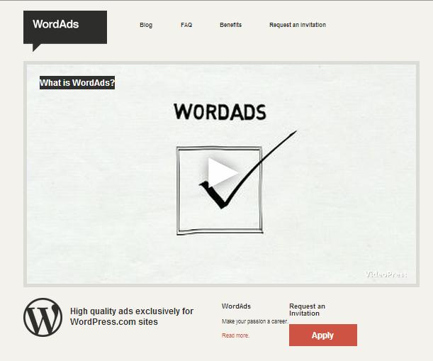 Halaman depan WordAds dot co