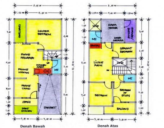 contoh desain sketsa denah rumah 2 lantai minimalis