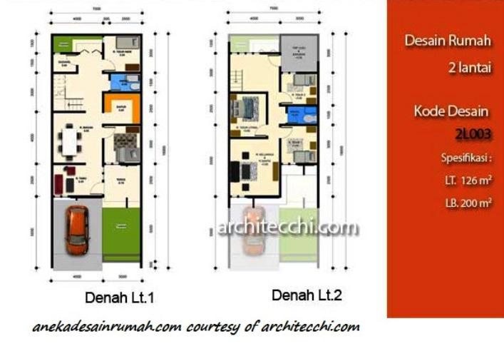 desain denah rumah 2 lantai minimalis 2 si momot