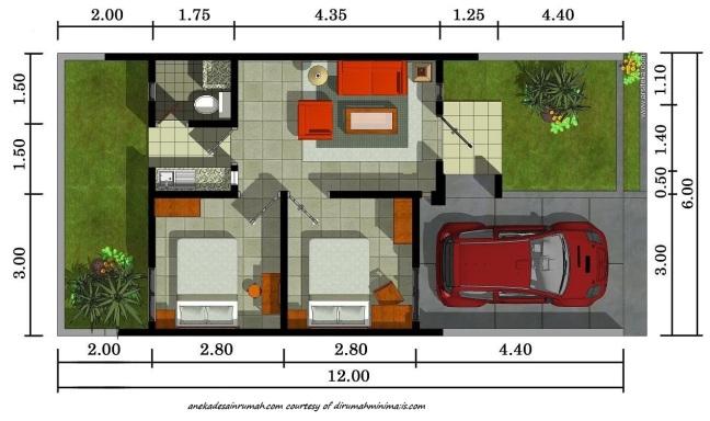 Desain Denah Rumah Minimalis Type 40  gambar denah rumah minimalis 2 lantai si momot