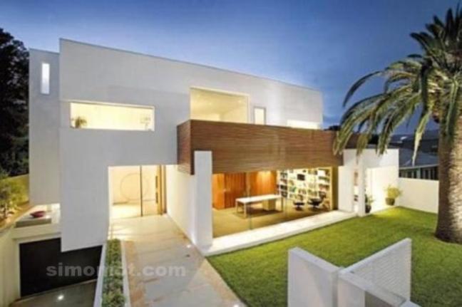 Desain Eksterior Rumah Mewah 1 Lantai  475 foto desain eksterior rumah minimalis modern si momot