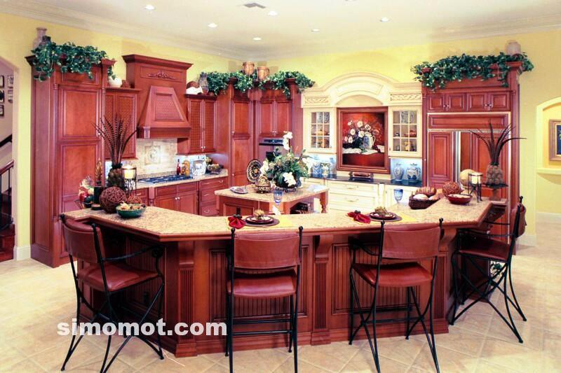 foto desain interior dapur kayu mewah 140 si momot