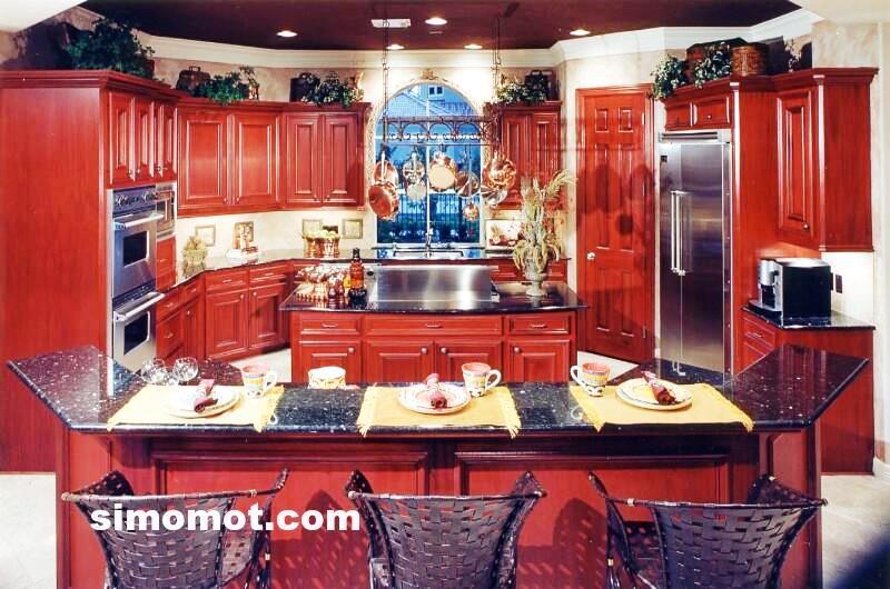 foto desain interior dapur kayu mewah 257 si momot