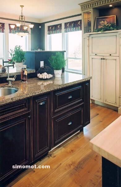 foto desain interior dapur kayu mewah 30 si momot