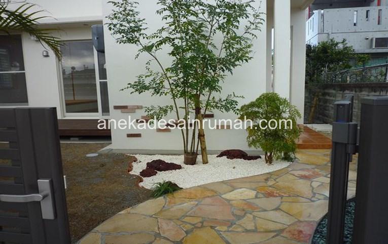 foto desain taman rumah minimalis tanpa air 127 bed