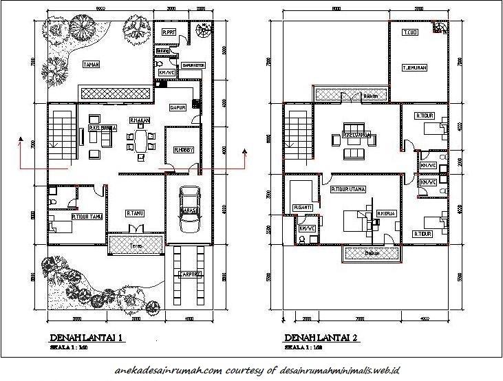 gambar denah pengembangan rumah 2 lantai minimalis 2