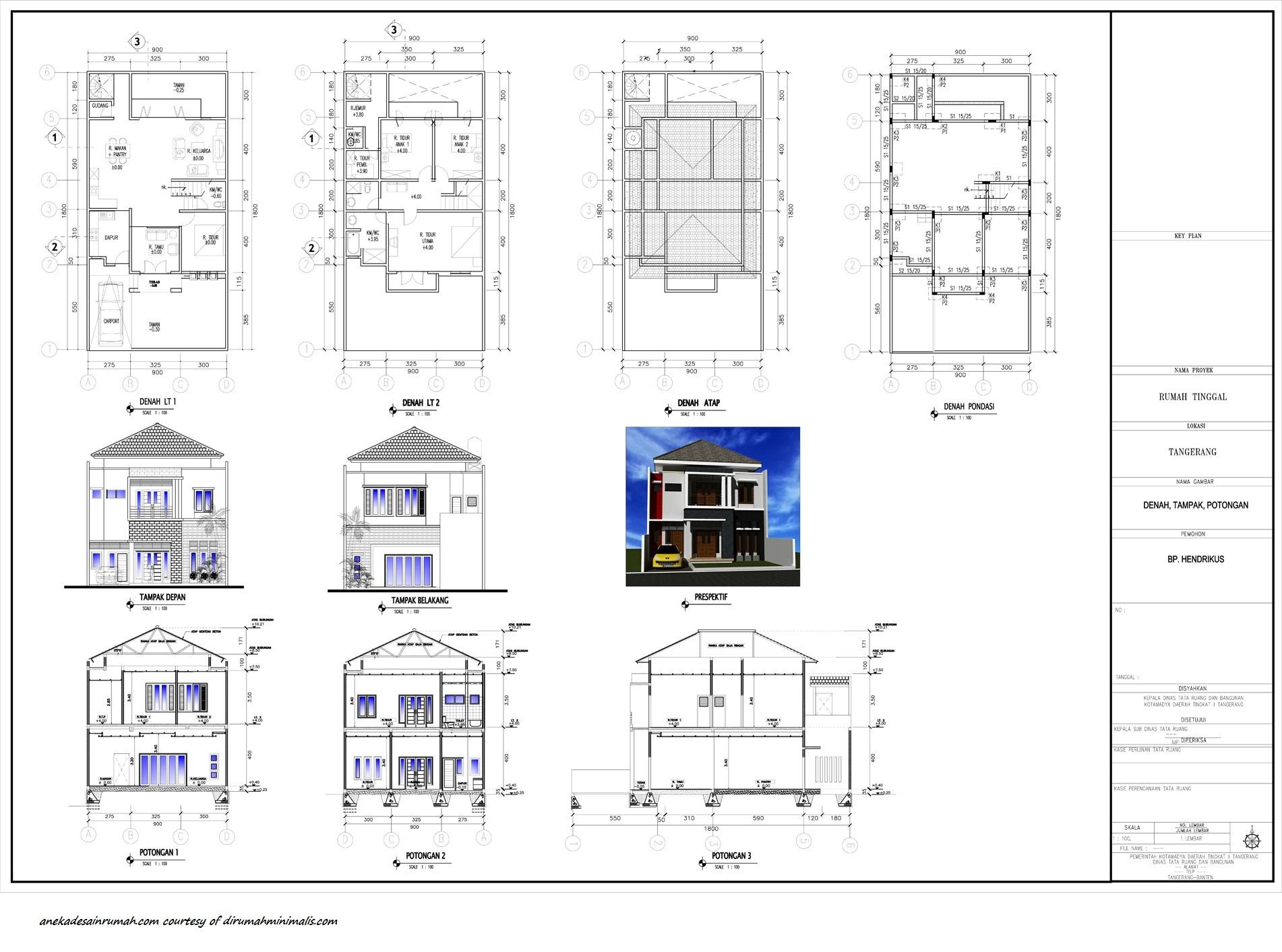 Denah Rumah 2 Lantai Lengkap Dengan Tampak Kreasi Rumah
