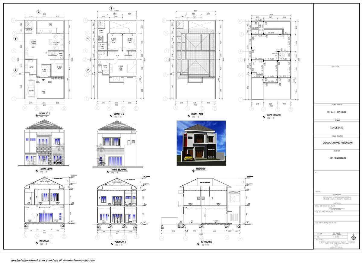 gambar denah untuk rumah 2 lantai minimalis 2 si momot