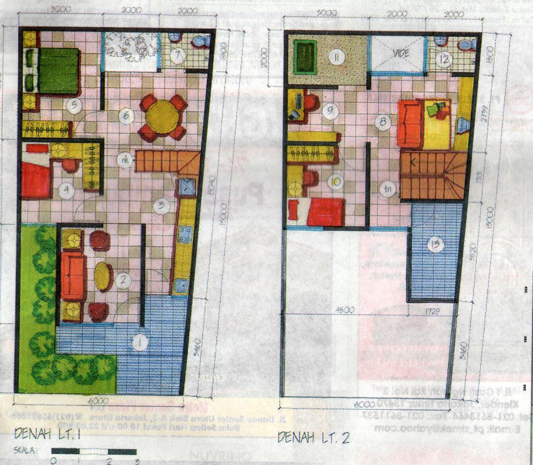denah dan sketsa desain rumah minimalis modern dan