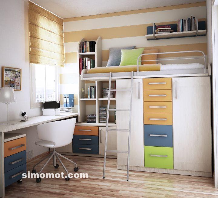 Desain interior kamar tidur minimalis modern untuk anak usia SMP-SMA
