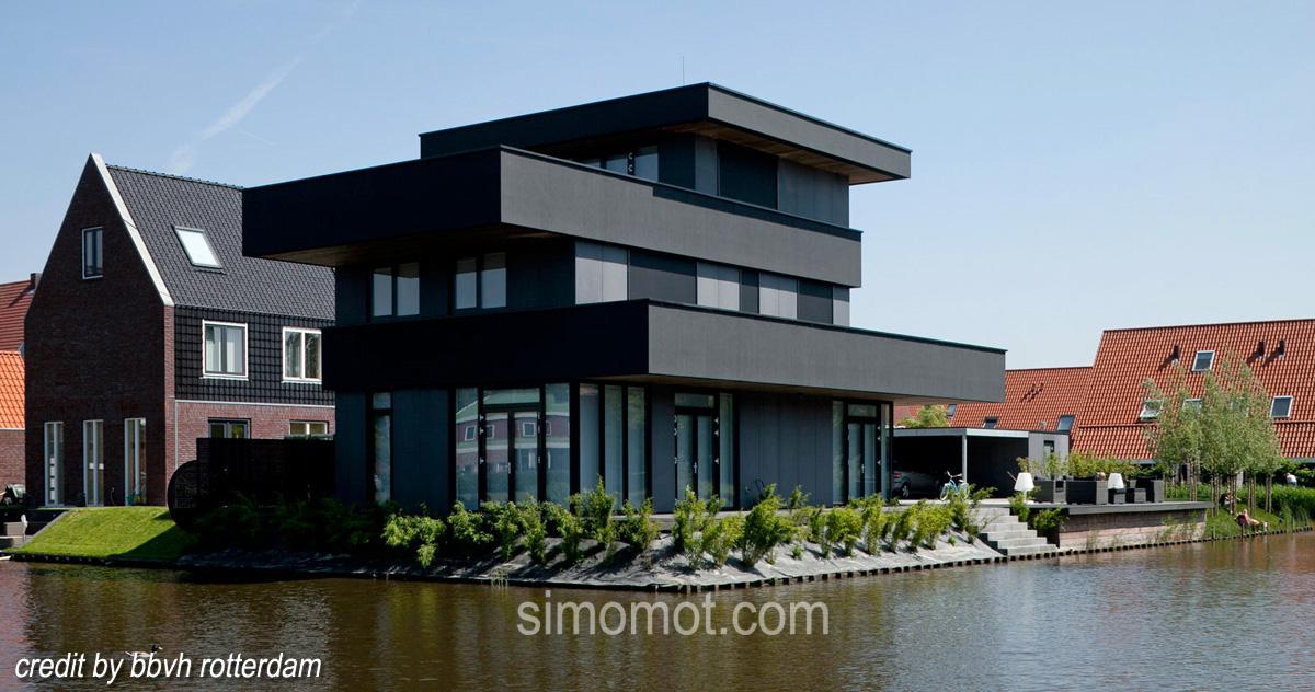 mantab benar desain arsitektur rumah di tepi sungai ala