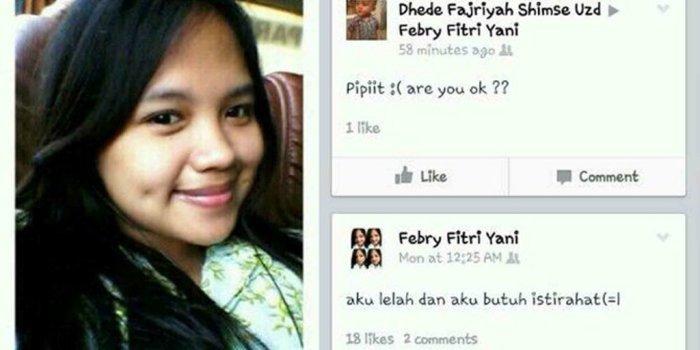 Ini status Facebook terakhir, febri Fitri Yani, korban kecelakaan maut di Tanjakan Emen. (Facebook.com)