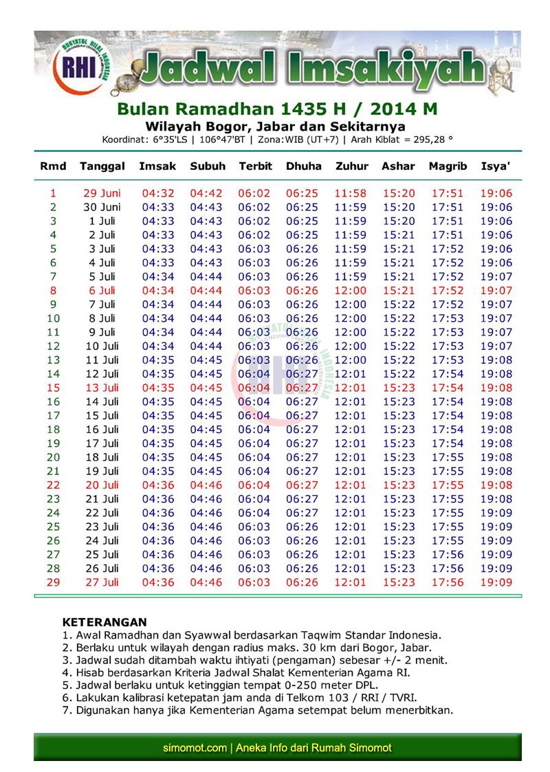 jadwal imsakiyah ramadhan 1435 h seluruh wilayah indonesia simomot rh simomot com