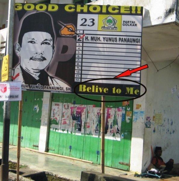 penguuman, pamflet promo dan papan nama lucu9