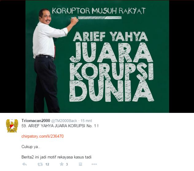 Arief Yahya juara korupsi - TM2000back