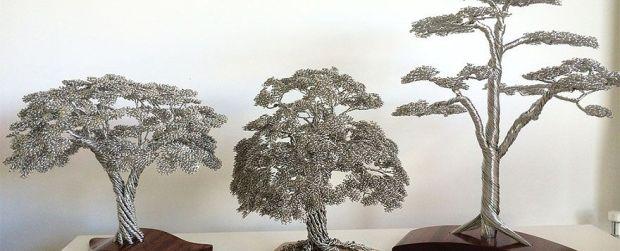 Hebat… pohon mini nan cantik ini dibuat dari jalinan kawat