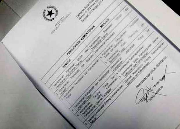 Surat perubahan kementerian Jokowi. (DetikNews)