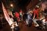 Sejumlah remaja melakukan konvoi dalam rangka kegiatan Saur On The Road (SOTR) di Jakarta, Minggu (28/6). Kegiatan yang dilakukan selama bulan ramadan tersebut sering kali menganggu ketertiban umum dengan sejumla aksi seperi vandalisme, perusakan fasilitas umum hingga perkelahian antar kelompok. ANTARA FOTO/Muhammad Adimaja