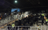 Polisi berupaya menghalau para suporter Persis Solo saat terjadi kerusuhan pada pertandingan leg pertama final turnamen sepak bola Piala Polda Jateng antara Persis Solo melawan PSIS Semarang di Stadion Jatidiri Semarang, Jateng, Sabtu (4/7) malam. Panitia pertandingan dan ofisial kedua tim memutuskan pertandingan dihentikan dan ditunda setelah terjadi kerusuhan antar suporter pada menit ke-26. ANTARA FOTO/R. Rekotomo