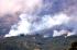 Asap mengepul dari hutan yang terbakar di lereng Gunung Sindoro terlihat dari kawasan Buntu, Kejajar, Wonosobo, Jateng, Jumat (28/8). Kebakaran hutan dan savana Gunung Sindoro yang terjadi sejak Kamis (27/8) siang di petak 18A menghanguskan sekitar seratus hektar lahan Perhutani. Kebakaran tersebut diduga akibat ulah pendaki yang tidak bertanggungjawab. ANTARA FOTO/Anis Efizudin